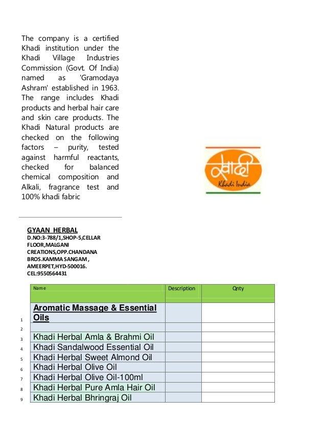 Khadi product list