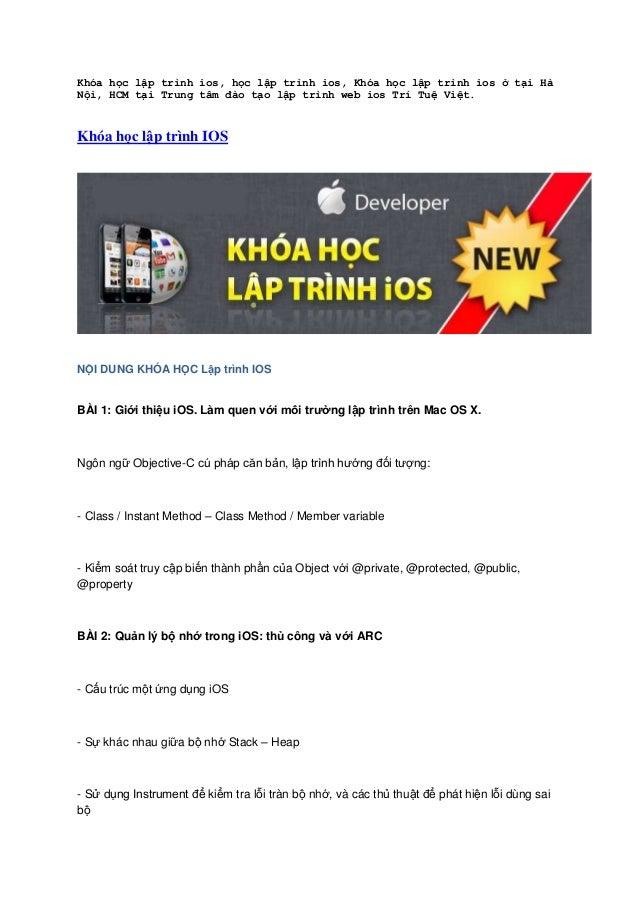 Khóa học lập trình ios, học lập trình ios, Khóa học lập trình ios ở tại Hà Nội, HCM tại Trung tâm đào tạo lập trình web io...