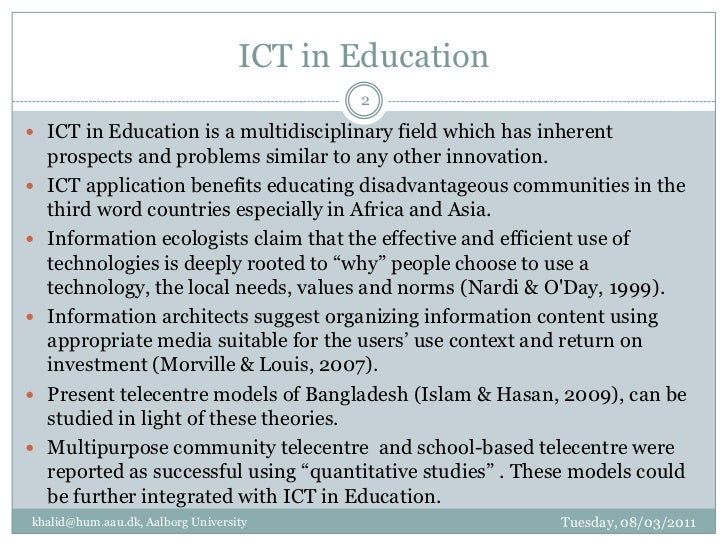 application of ict in education