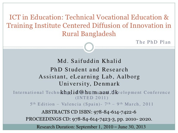 ICT IN EDUCATION: SECONDARY TECHNICAL VOCATIONAL EDUCATION AND TRAINING INSTITUTE CENTERED DIFFUSION OF INNOVATION IN RURAL BANGLADESH