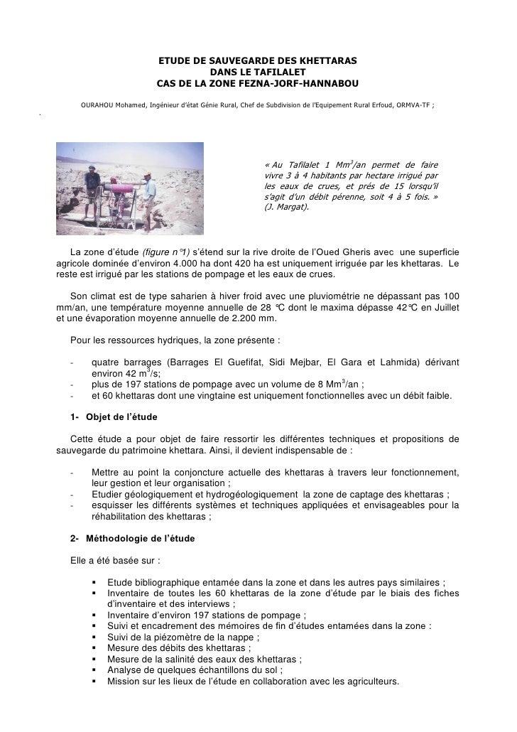 1                                 ETUDE DE SAUVEGARDE DES KHETTARAS                                           DANS LE TAFI...