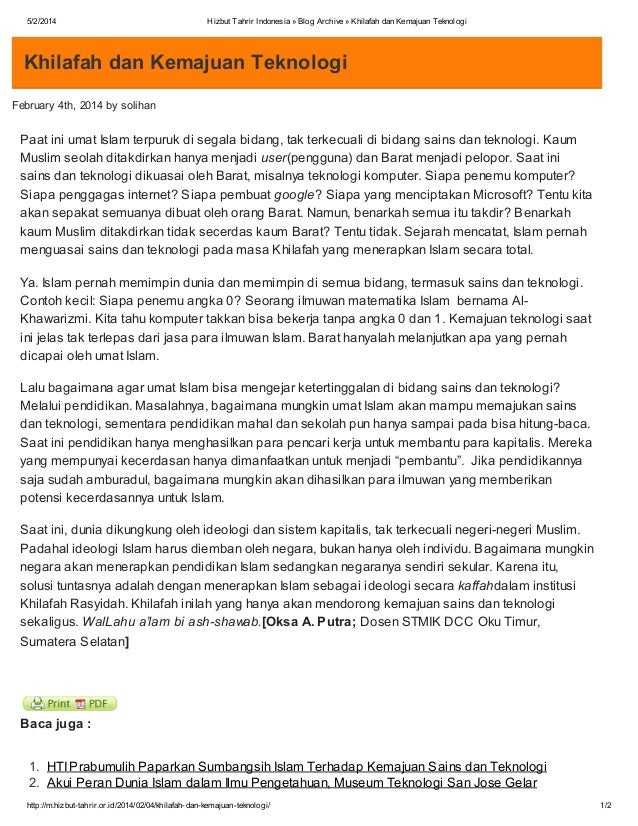 5/2/2014  Hizbut Tahrir Indonesia » Blog Archive » Khilafah dan Kemajuan Teknologi  Khilafah dan Kemajuan Teknologi Februa...