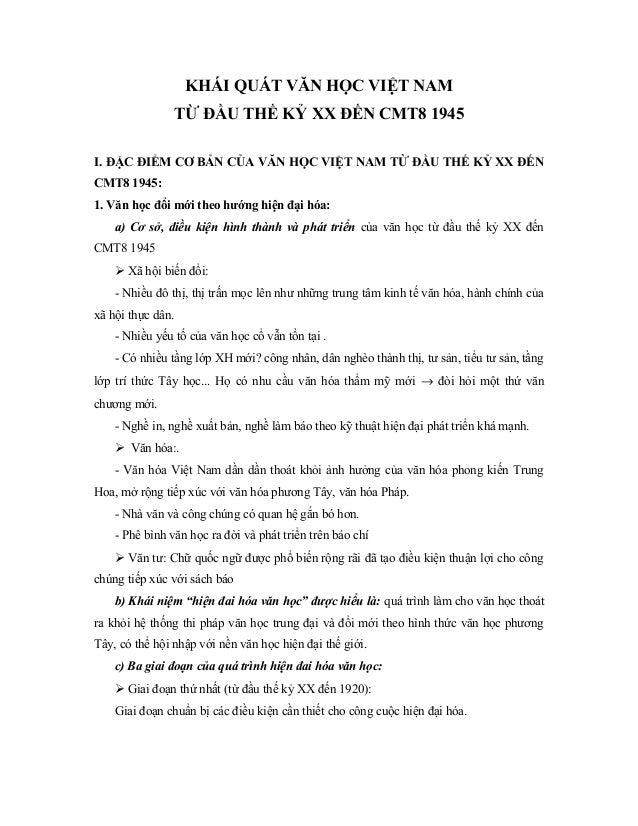 Khái quát văn học việt nam từ đầu thế kỷ xx đến cmt8 1945truonghocso.com