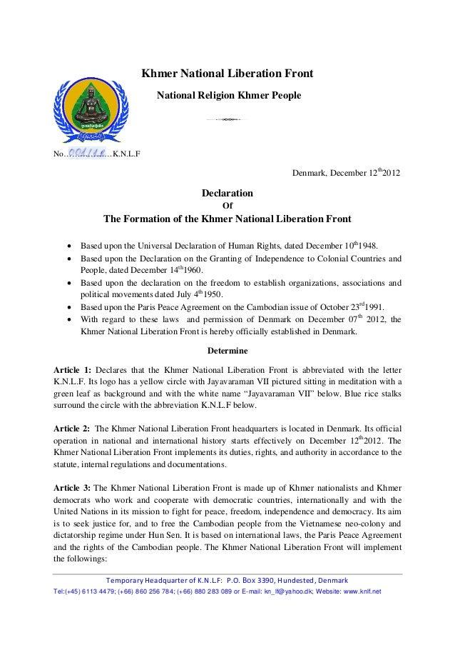 Khmer national liberation front declaration 002