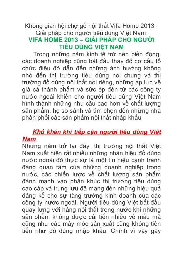 Không gian hội chợ gỗ nội thất Vifa Home 2013 - Giải pháp cho người tiêu dùng VIệt Nam VIFA HOME 2013 – GIẢI PHÁP CHO NGƯỜ...