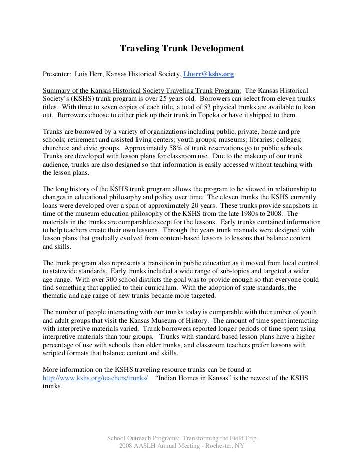 Traveling Trunk Development  Presenter: Lois Herr, Kansas Historical Society, Lherr@kshs.org  Summary of the Kansas Histor...