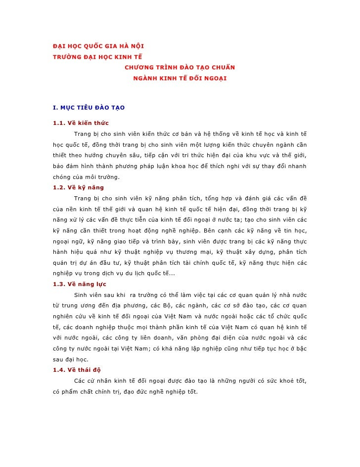 ĐẠI HỌC QUỐC GIA HÀ NỘI TRƯỜNG ĐẠI HỌC KINH TẾ                         CHƯƠNG TRÌNH ĐÀO TẠO CHUẨN                         ...