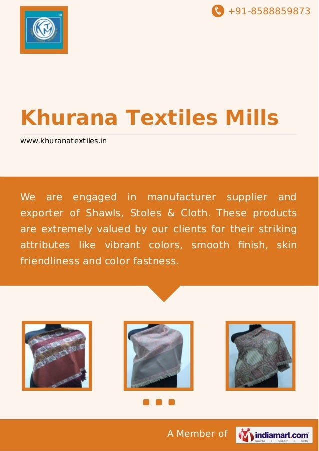 +91-8588859873  Khurana Textiles Mills www.khuranatextiles.in  We  are  engaged  in  manufacturer  supplier  and  exporter...