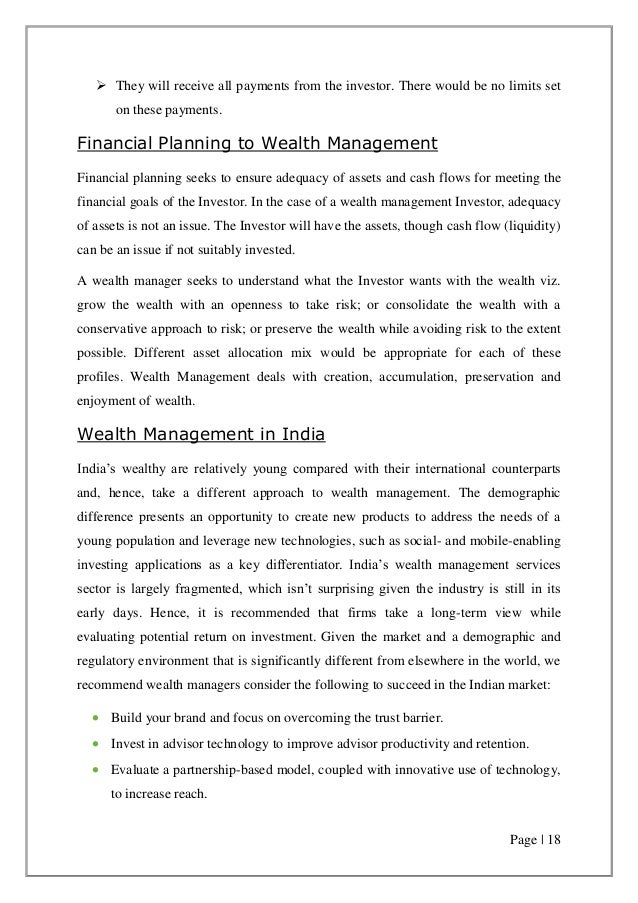project report on wealth management