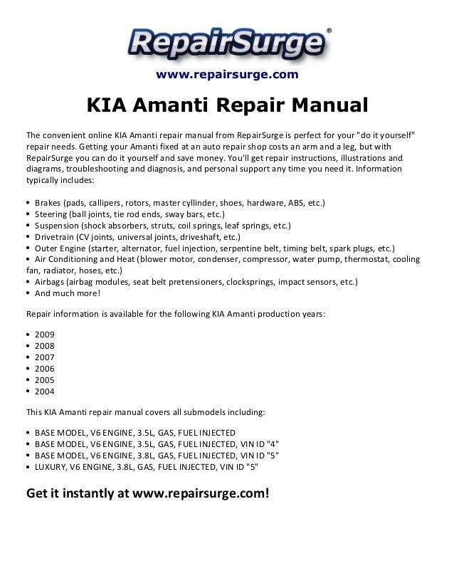 Kia Amanti Repair Manual 2004 2009