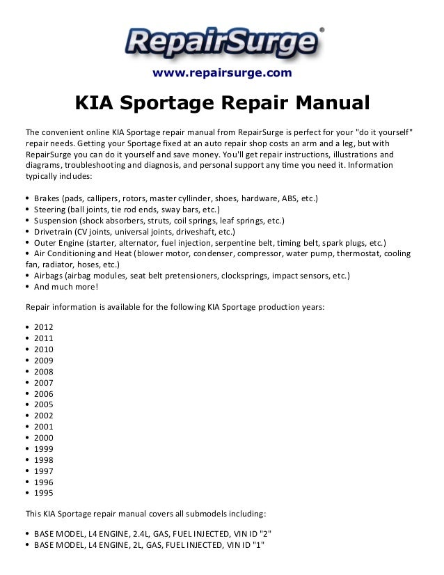 kia sportage repair manual 1995 2012. Black Bedroom Furniture Sets. Home Design Ideas