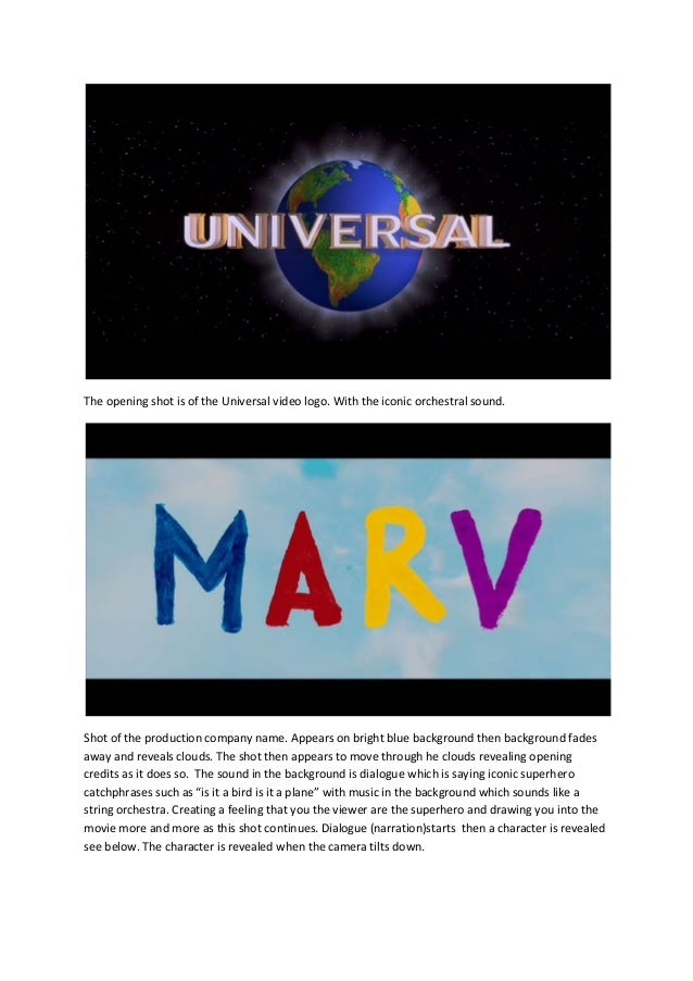 The opening shot is of the Universal video logo. With the iconic orchestral sound.  Shot of the production company name. A...