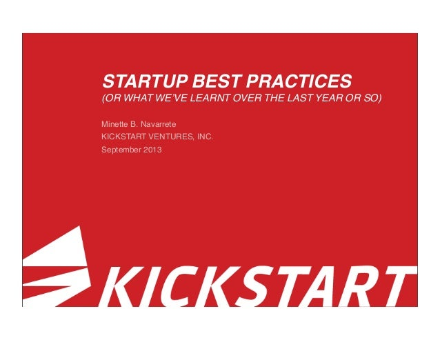 STARTUP BEST PRACTICES