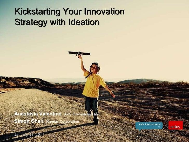 Kickstarting Your Innovation  Strategy with Ideation Anastasia Valentine ,  AVV International Inc . Simon Chen ,  Ramius C...