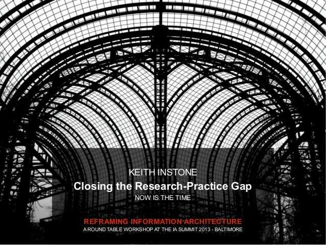 KEITH INSTONEClosing the Research-Practice Gap                   NOW IS THE TIME REFRAMING INFORMATION ARCHITECTURE A ROUN...