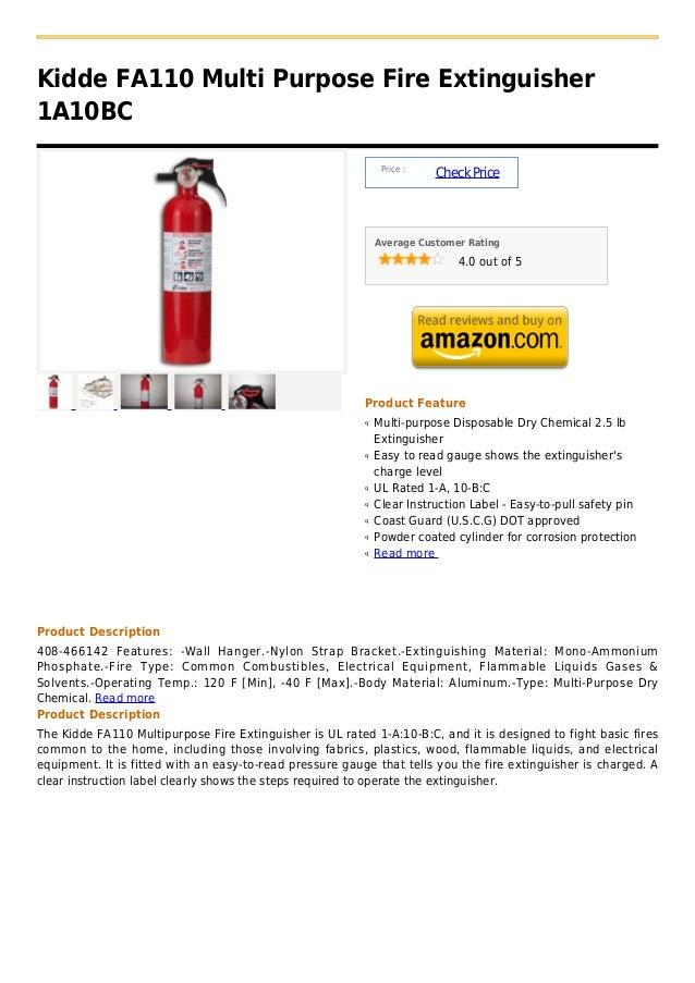 Kidde FA110 Multi Purpose Fire Extinguisher1A10BC                                                               Price :   ...