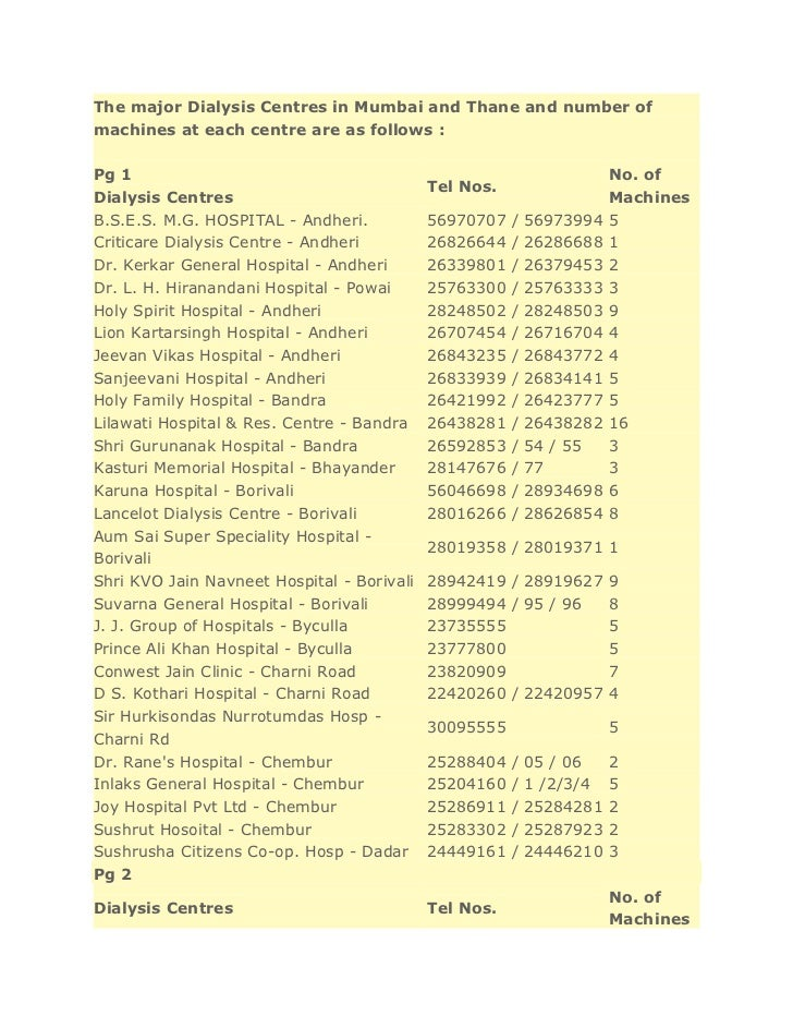 The major Dialysis Centres in Mumbai and Thane and number ofmachines at each centre are as follows :Pg 1                  ...