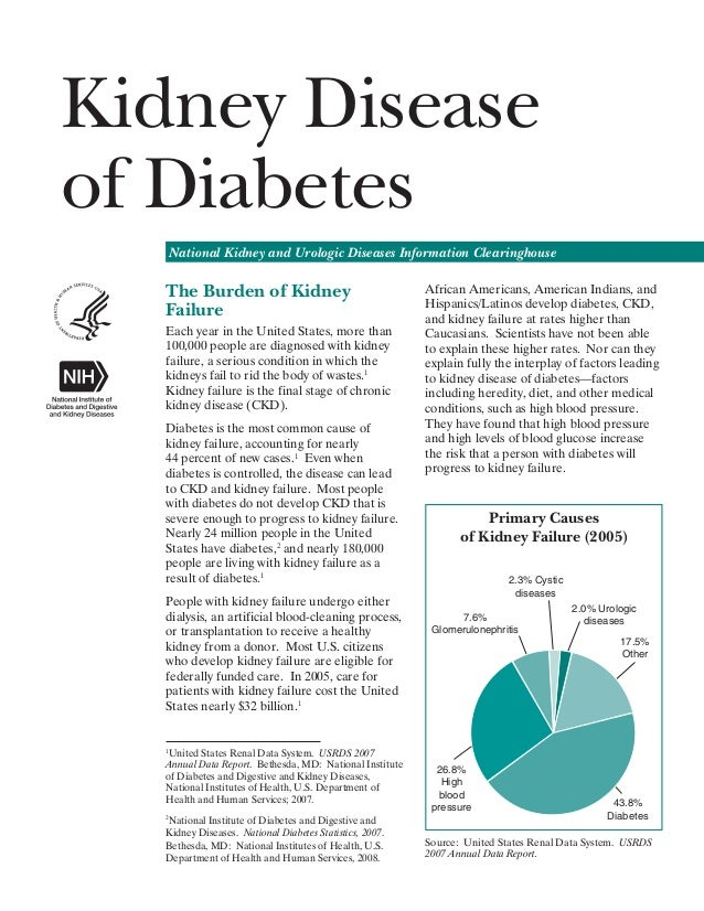 Kidney Disease of Diabetes National Kidney and Urologic Diseases Information Clearinghouse  The Burden of Kidney Failure E...
