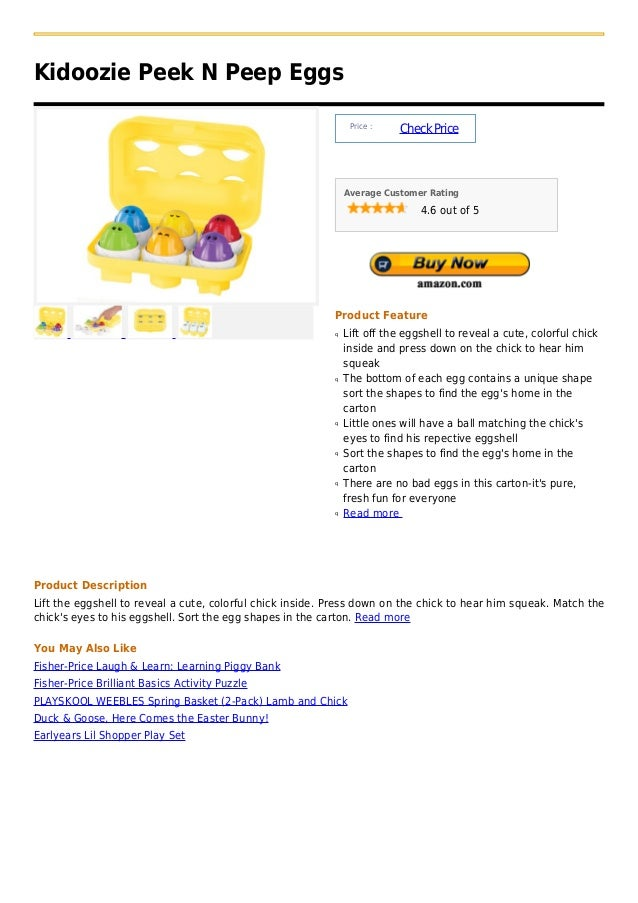 Kidoozie Peek N Peep Eggs                                                                Price :                          ...