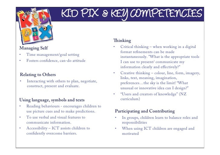 KID PIX & KEY COMPETENCIES                                                    inking Managing Self                       ...