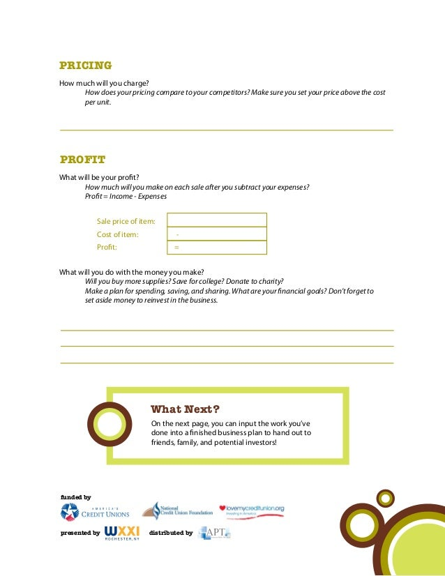 Simple business plan template for kids
