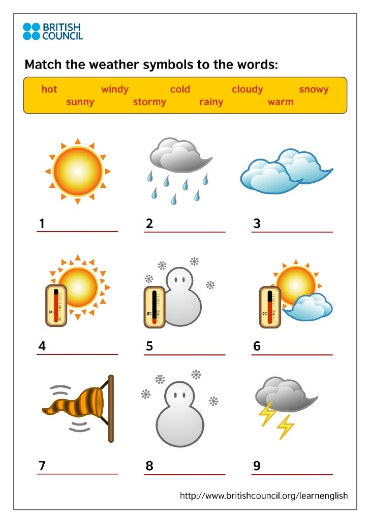 Kids Print Weather Symbols