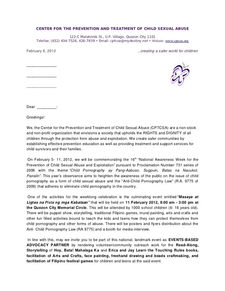 CENTER FOR THE PREVENTION AND TREATMENT OF CHILD SEXUAL ABUSE                          122-C Matahimik St., U.P. Village, ...