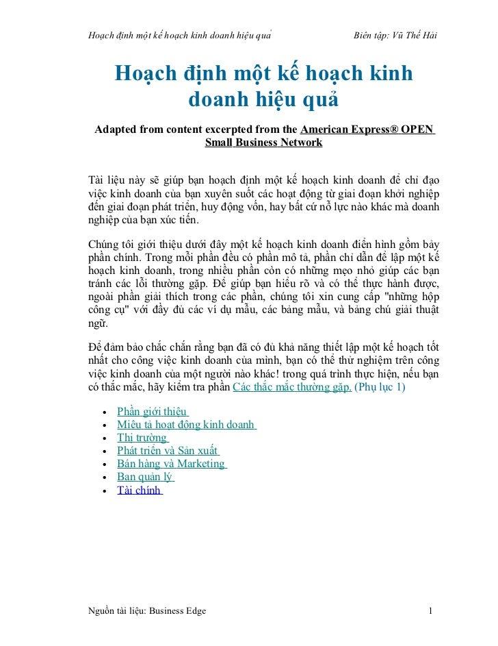 Hoạch định một kế hoạch kinh doanh hiệu quả      Biên tập: Vũ Thế Hải        Hoạch định một kế hoạch kinh          ...