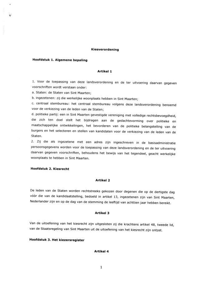 Kiesverordening Hoofdstuk 1. Aigemene bepaling Artikel1 1. Voor de toepassing van deze landsverordening en de ter uitvoeri...