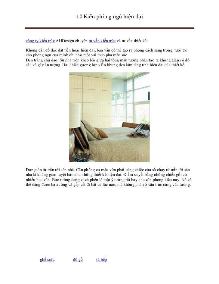 10 Kiểu phòng ngủ hiện đạicông ty kiến trúc AHDesign chuyên tư vấn kiến trúc và tư vấn thiết kế:Không cần đồ đạc đắt tiền ...