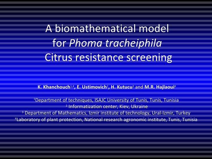 A biomathematical model  for Phoma tracheiphila  Citrus resistance screening