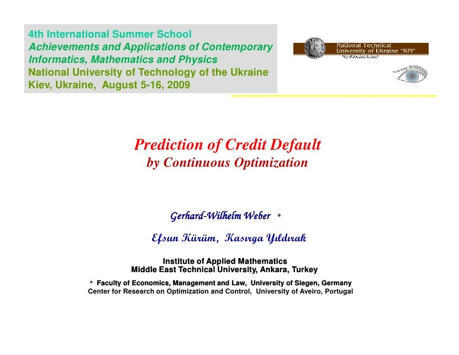 Prediction of Credit Default by Continuous Optimization