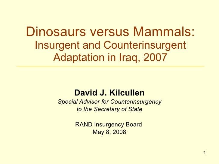 David J. Kilcullen Special Advisor for Counterinsurgency to the Secretary of State RAND Insurgency Board  May 8, 2008 Dino...