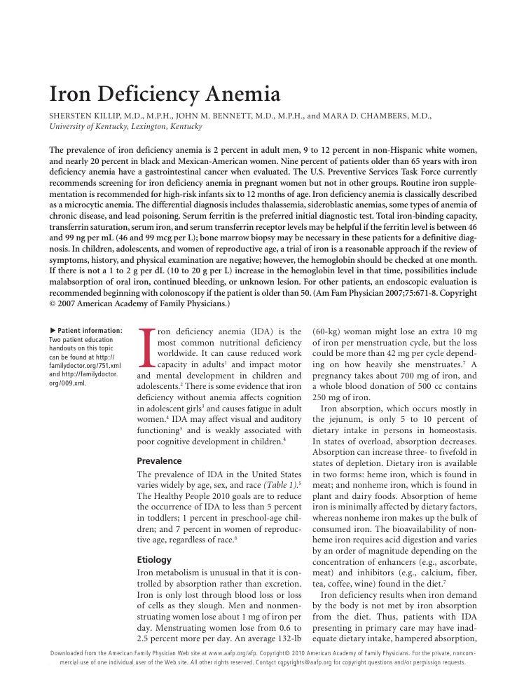 Iron Deficiency AnemiaSHERSTEN KILLIP, M.D., M.P.H., JOHN M. BENNETT, M.D., M.P.H., and MARA D. CHAMBERS, M.D.,University ...