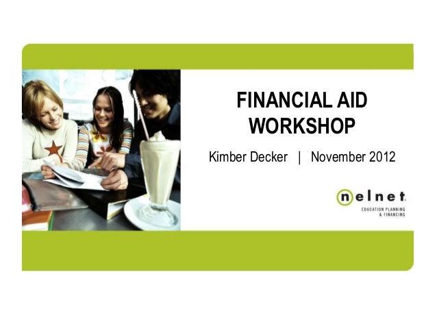 Financial aid night  December 2012