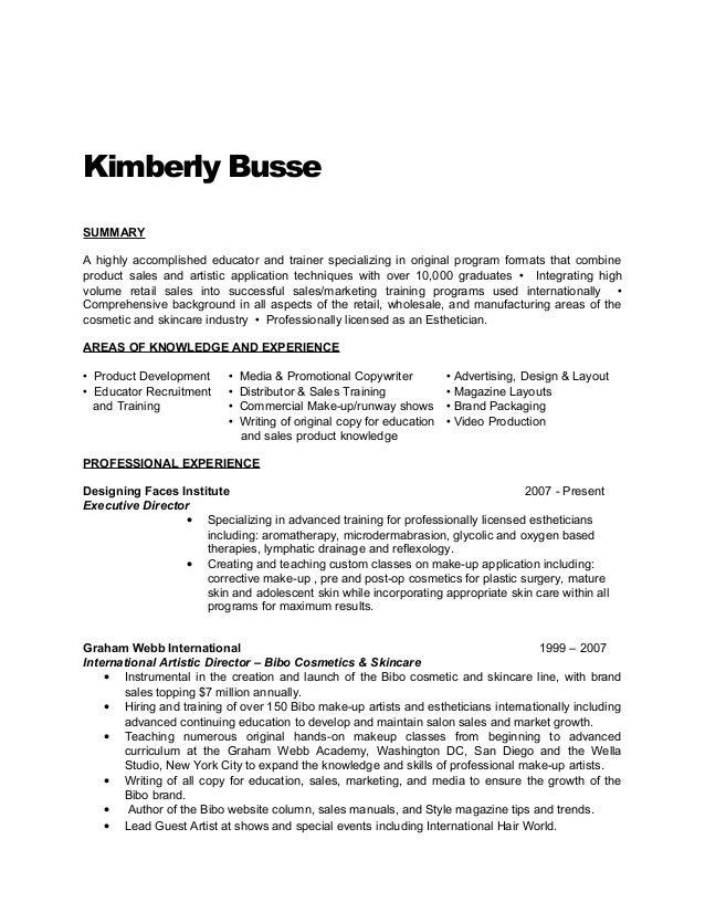 Esthetician Resume Example