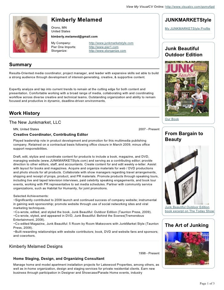 kimberly melamed visual cv resume 1