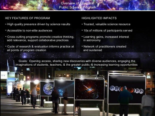 Overview of Chandra Public Science Program 1 KEY FEATURES OF PROGRAM • High quality presence driven by science results • A...