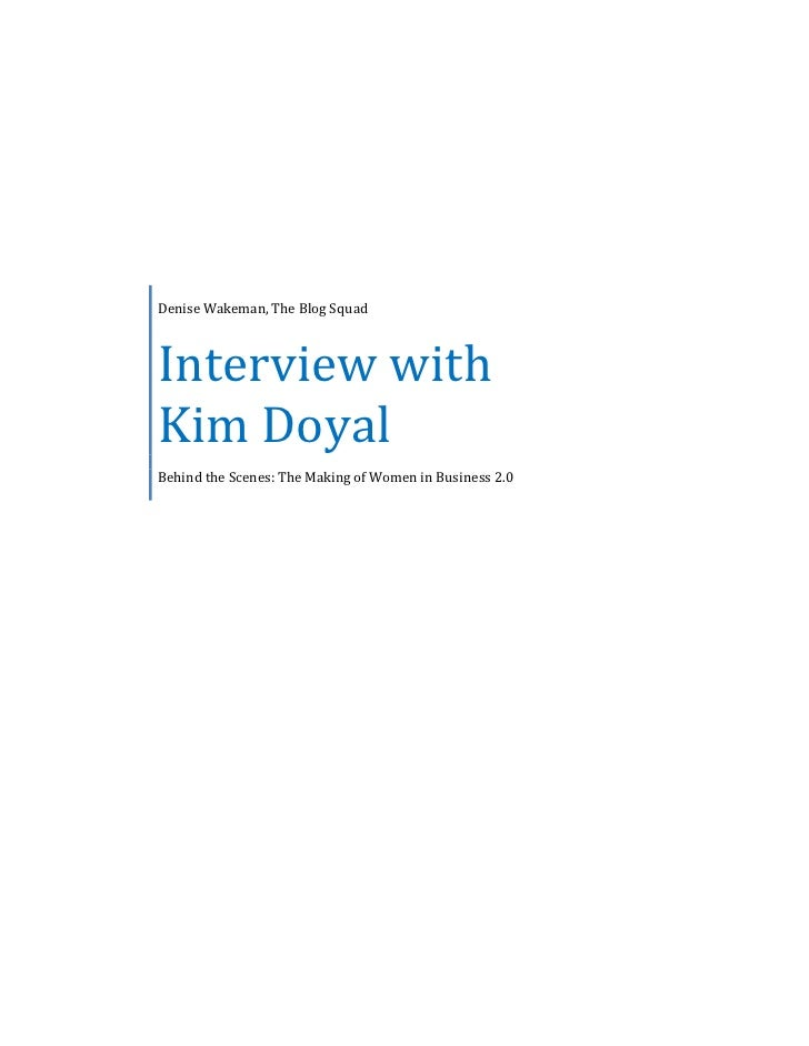 Interview with Kim Doyal: Behind the Scenes of Women in Business 2.0