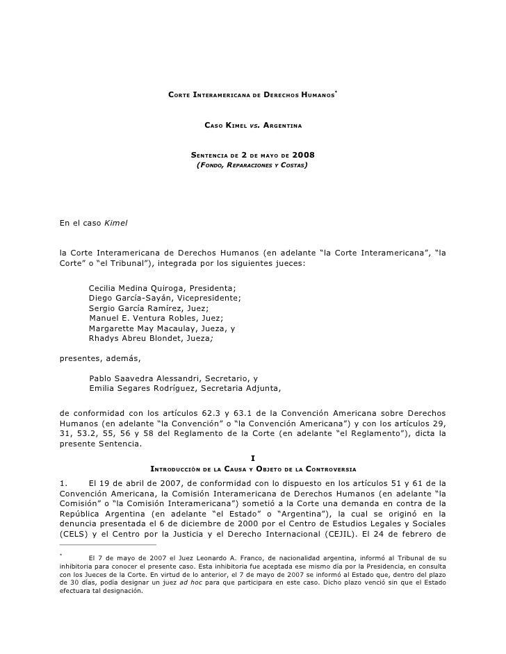 Kimel Corte Interamericana