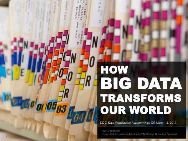 HOW    BIG DATA    TRANSFORMS    OUR WORLD    DDC, Data Visualization Academy Kick-Off, March 12, 2013     Kim Escherich  ...