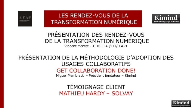 PRÉSENTATION DES RENDEZ-VOUS DE LA TRANSFORMATION NUMÉRIQUE Vincent Montet – CDO EFAP/EFJ/ICART PRÉSENTATION DE LA MÉTHODO...
