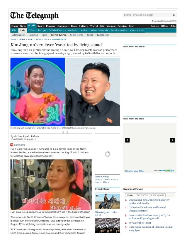 Thursday 29 August 2013 By Julian Ryall, T okyo 10:09AM BST 29 Aug 2013 Comments Hyon Song-wol, a singer, rumoured to be a...