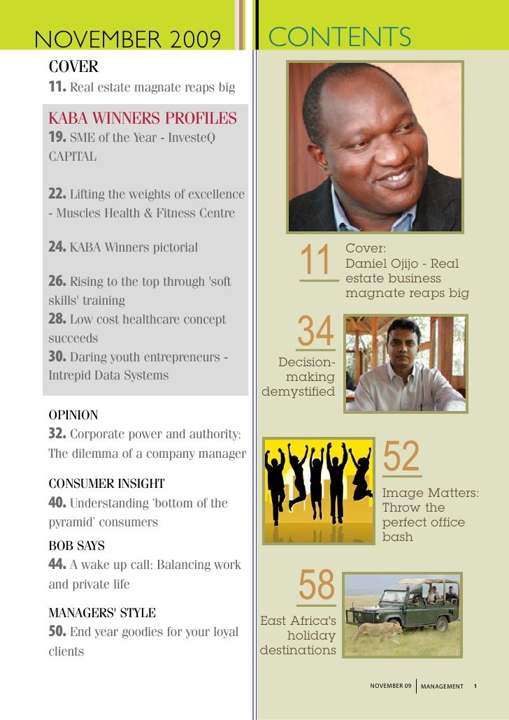 NOVEMBER 2009                             CONTENTS  COVER  11. Real estate magnate reaps big  KABA WINNERS PROFILES  19. S...