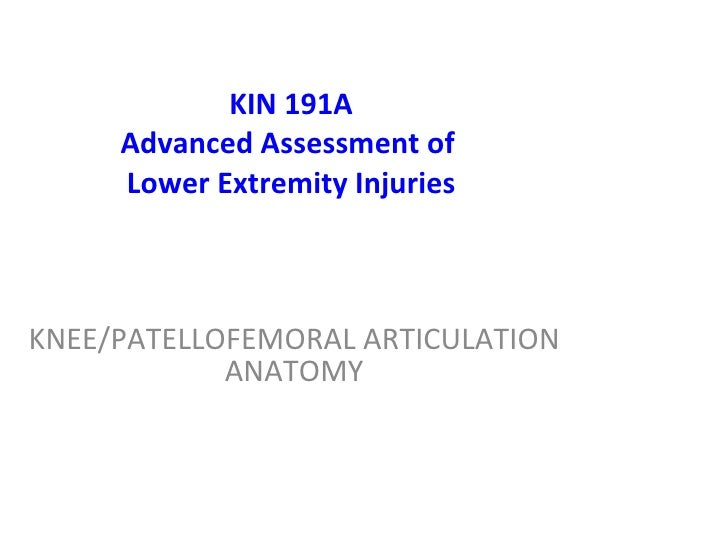 KIN 191A Advanced Assessment of  Lower Extremity Injuries KNEE /PATELLOFEMORAL ARTICULATION  ANATOMY