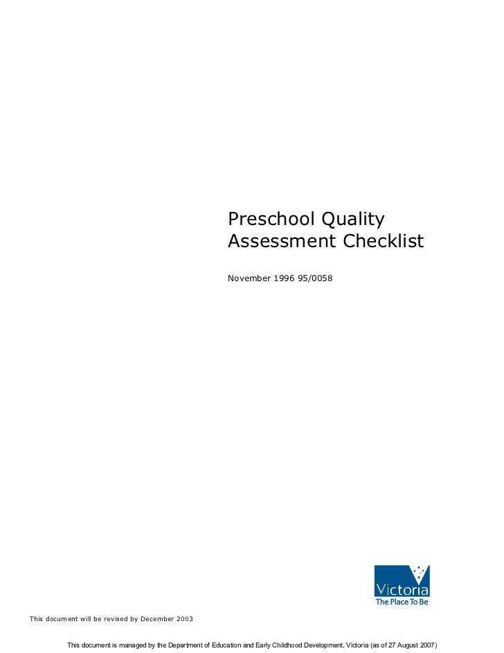 Preschool Quality                                                              Assessment Checklist                       ...
