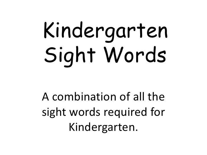 Kindergarten Sight Words Whole Year