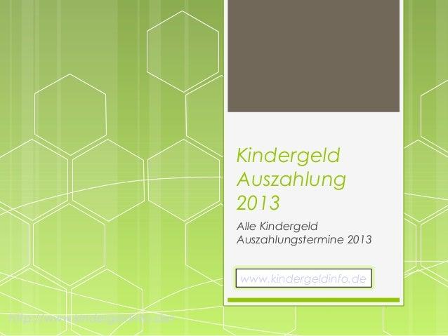 Kindergeld auszahlungstermin 2013