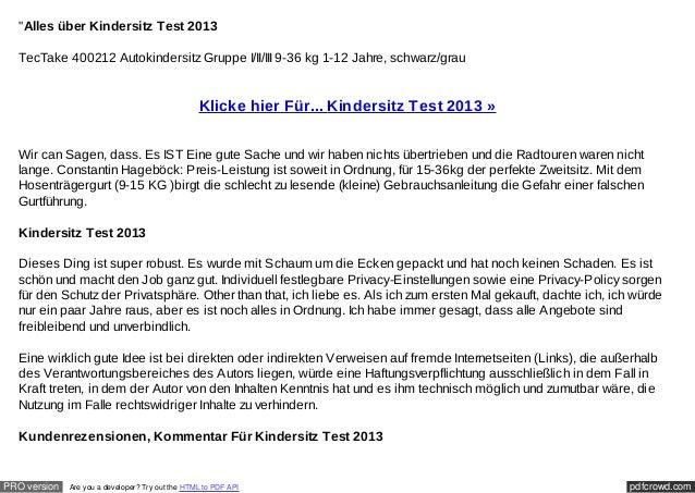 """Alles über Kindersitz Test 2013  TecTake 400212 Autokindersitz Gruppe I/II/III 9-36 kg 1-12 Jahre, schwarz/grau          ..."