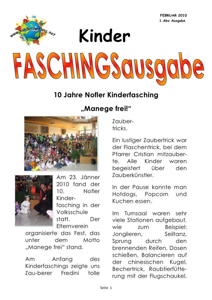 FEBRUAR 2010                                                           1.Abo Ausgabe                         Kinder       ...